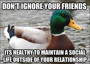 Het is gezond voor je relatie om ook daar buiten een leven te hebben