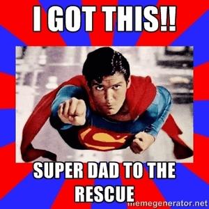 Super vader helpt en schiet te hulp en verdient een beloning