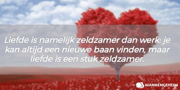 Liefde is namelijk zeldzamer dan werk: je kan altijd een nieuwe baan vinden, maar liefde is een stuk zeldzamer.