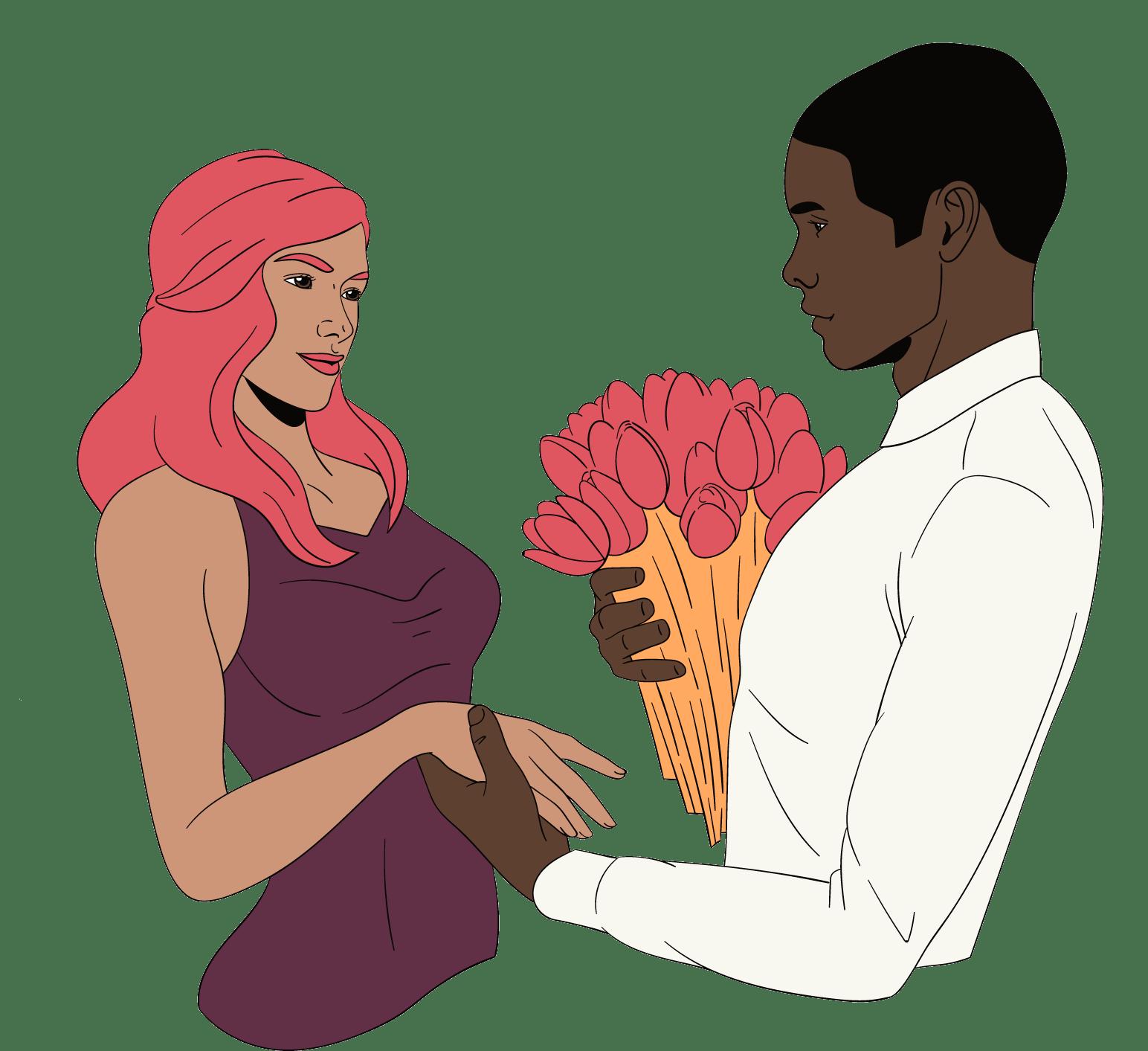 Man geeft bloemen aan vrouw en is attenter voor haar, omdat hij stiekem vreemd gaat.