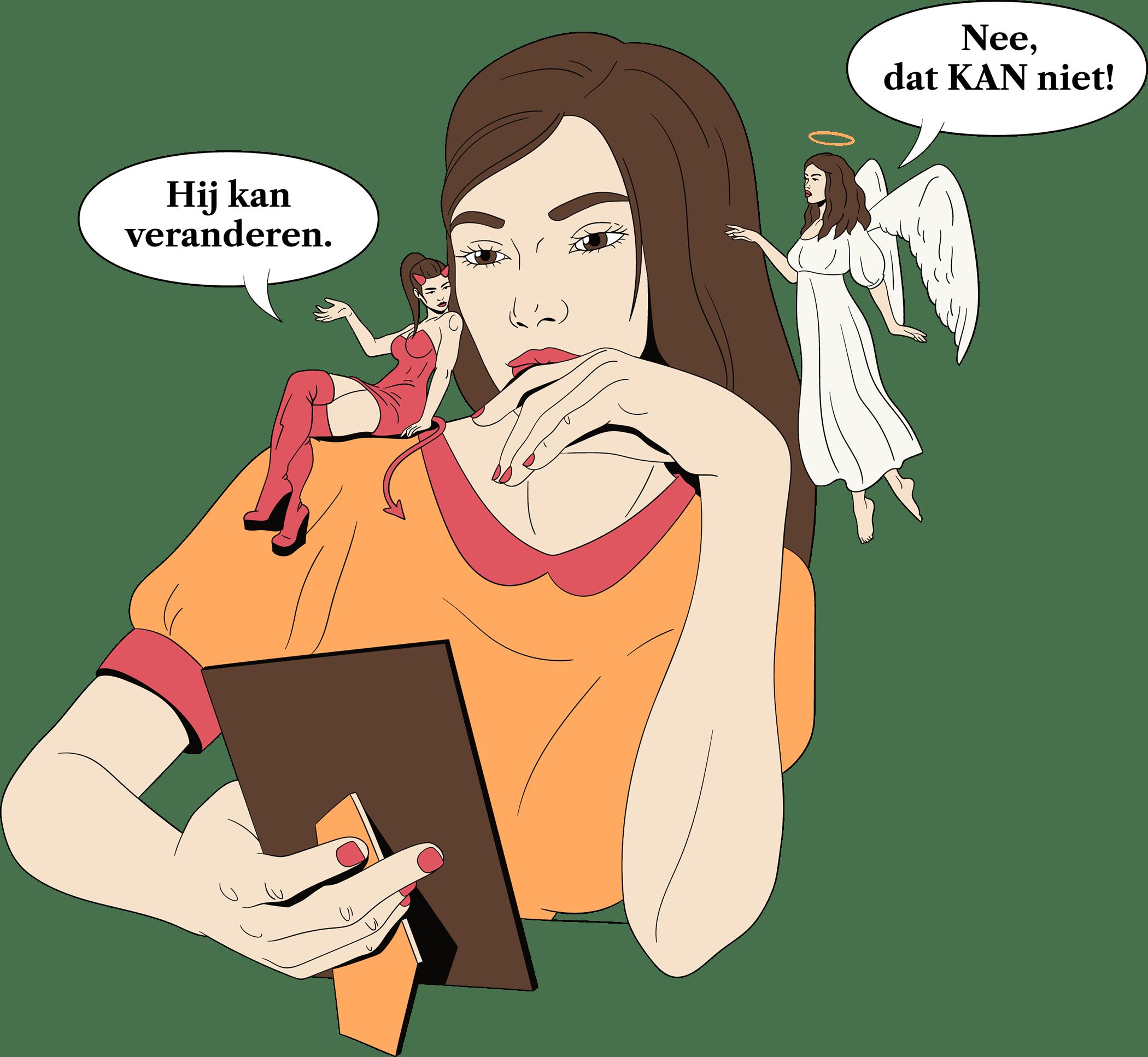 Een vrouw heeft een engeltje en een duivel op haar schouder die een discussie hebben over het loslaten van een man.