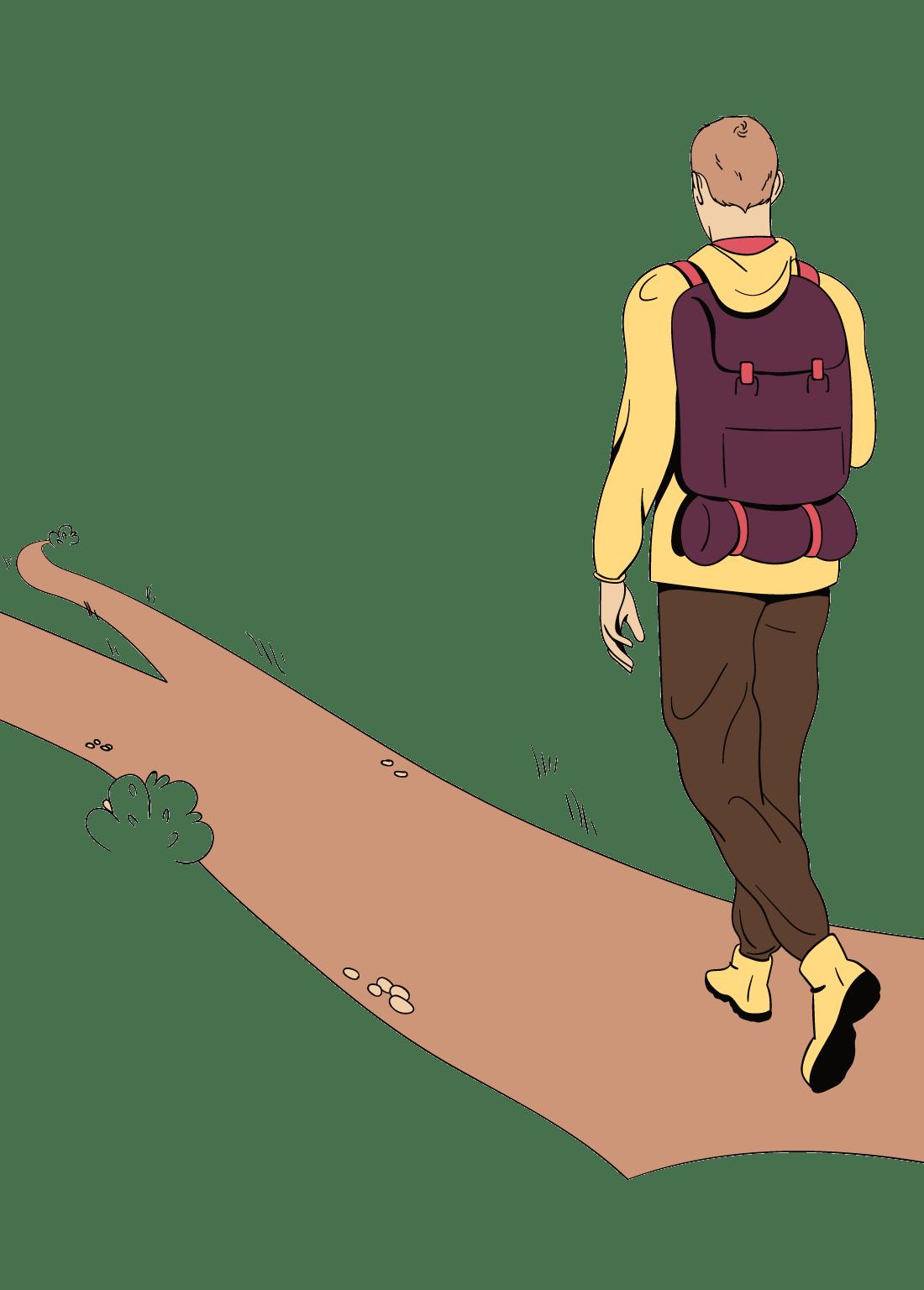Een man heeft plotseling een nieuwe hobby gekregen, hij gaat bijvoorbeeld wandelen.