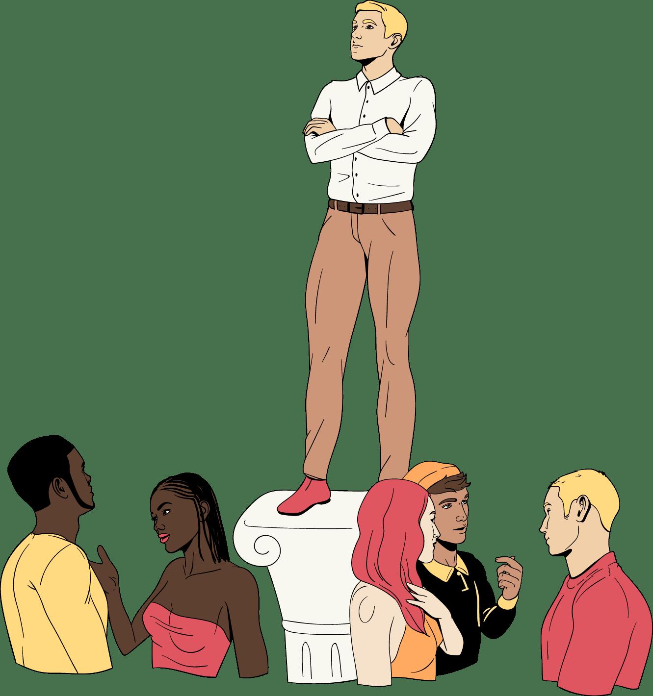 Een man voelt zich verheven boven alle anderen