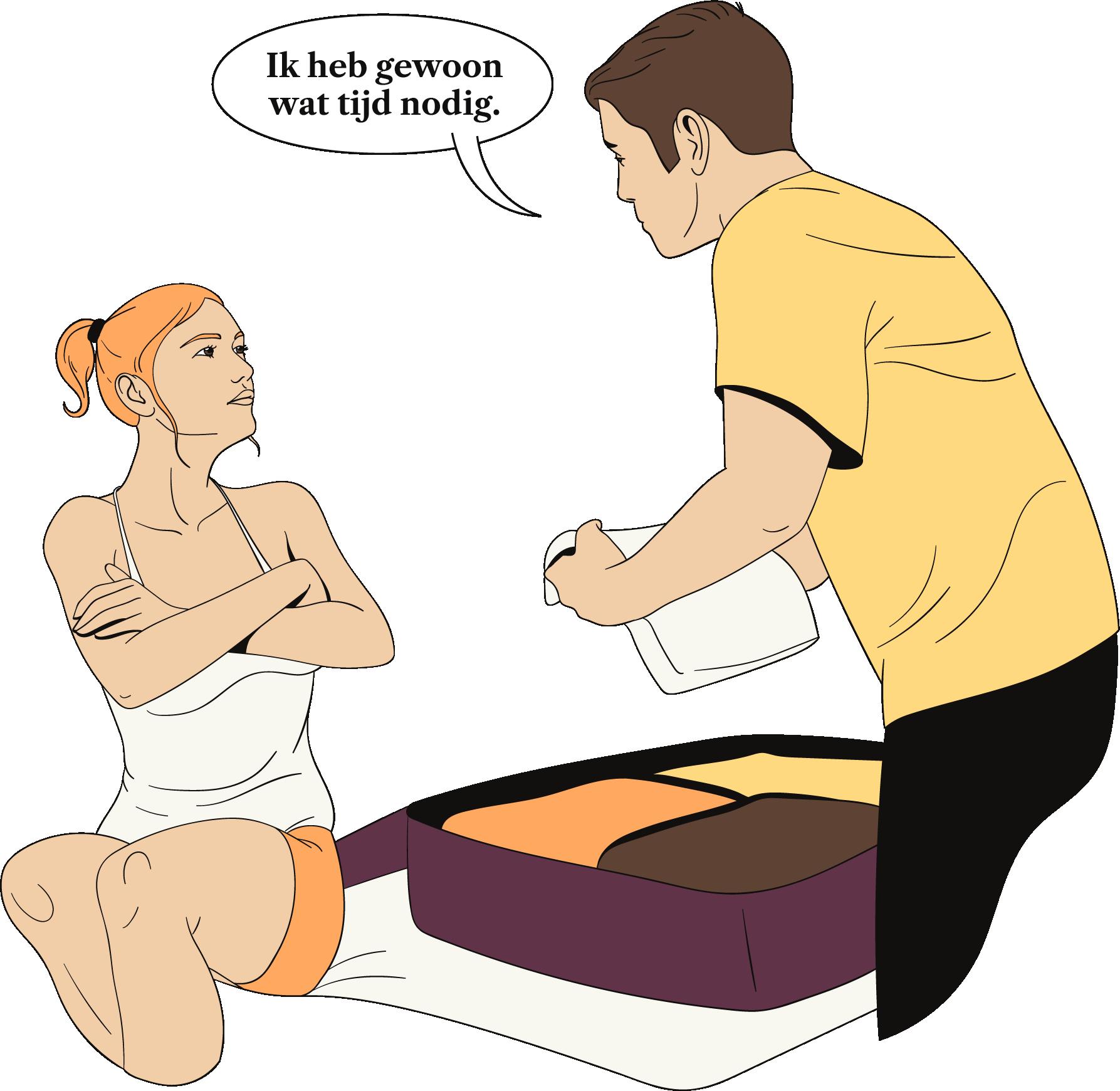 Een man pakt zijn koffers en zegt tegen zijn vriendin dat hij tijd nodig heeft.