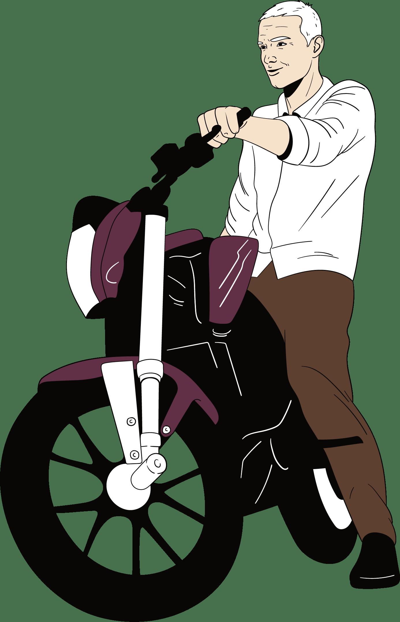 Een typische geval van een midlife crisis bij een man, want hij zit op een stoere motor.
