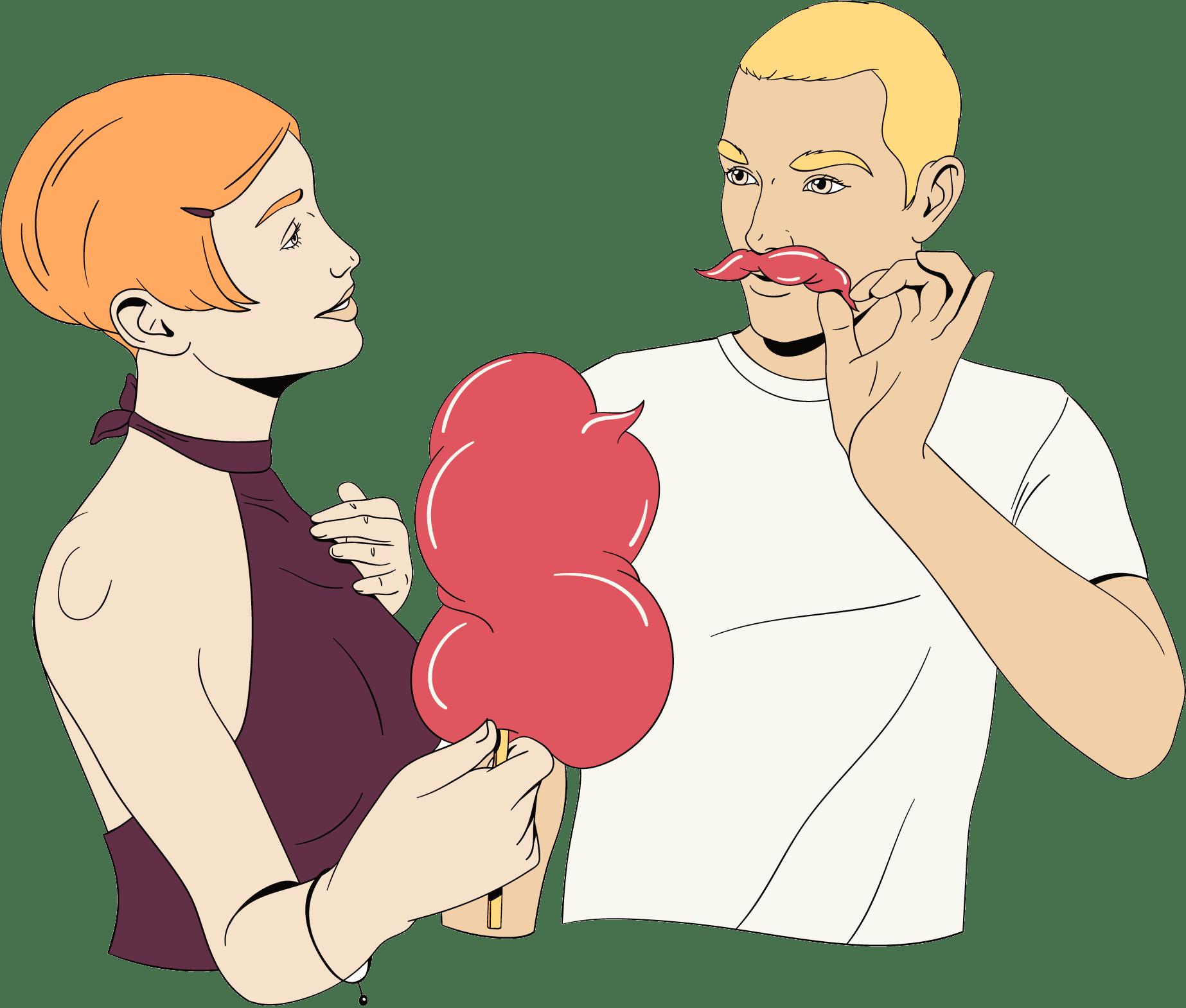 Een man en vrouw hebben een leuke date samen.