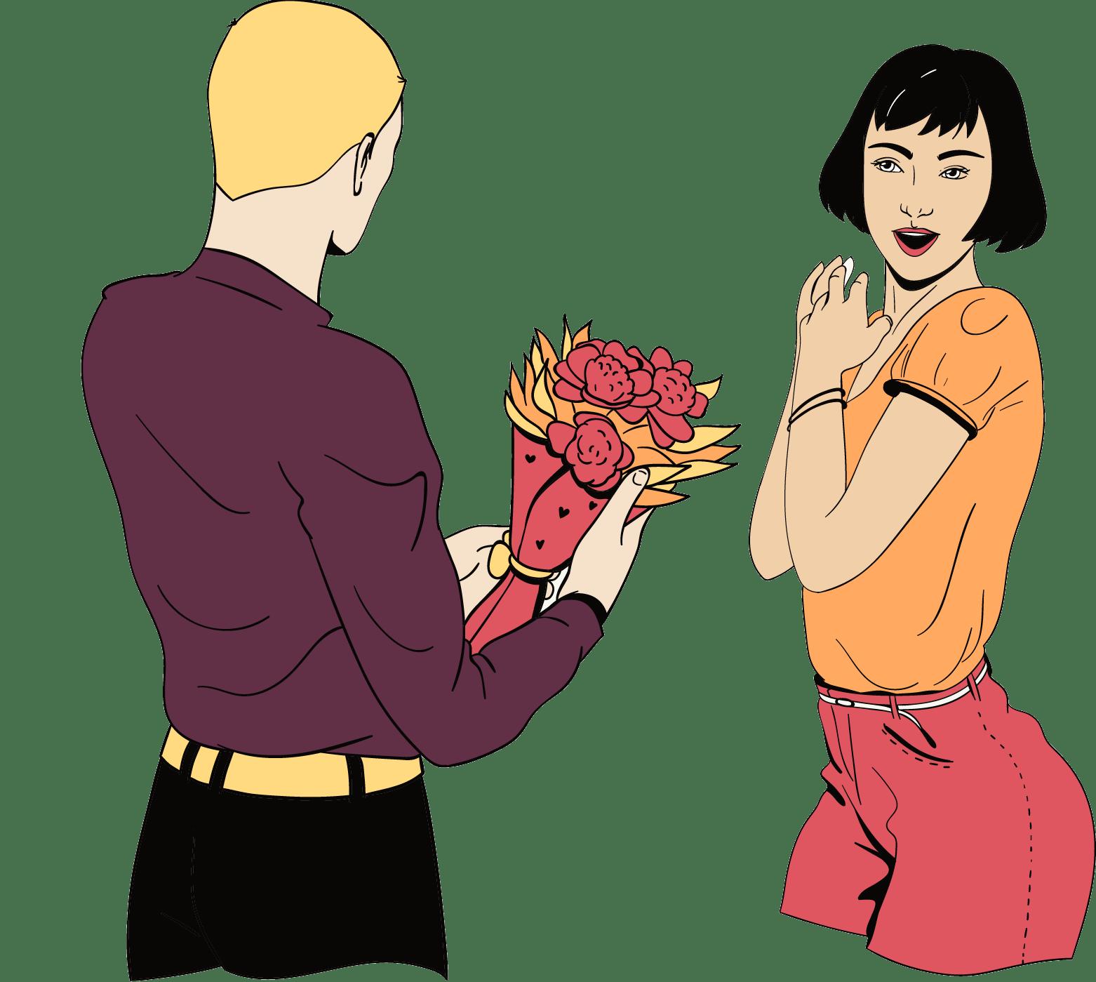 Een man geeft bloemen aan zijn vriendin