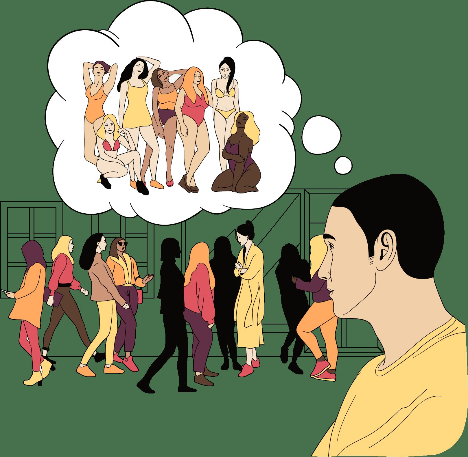 Een man denkt constant aan andere vrouwen.