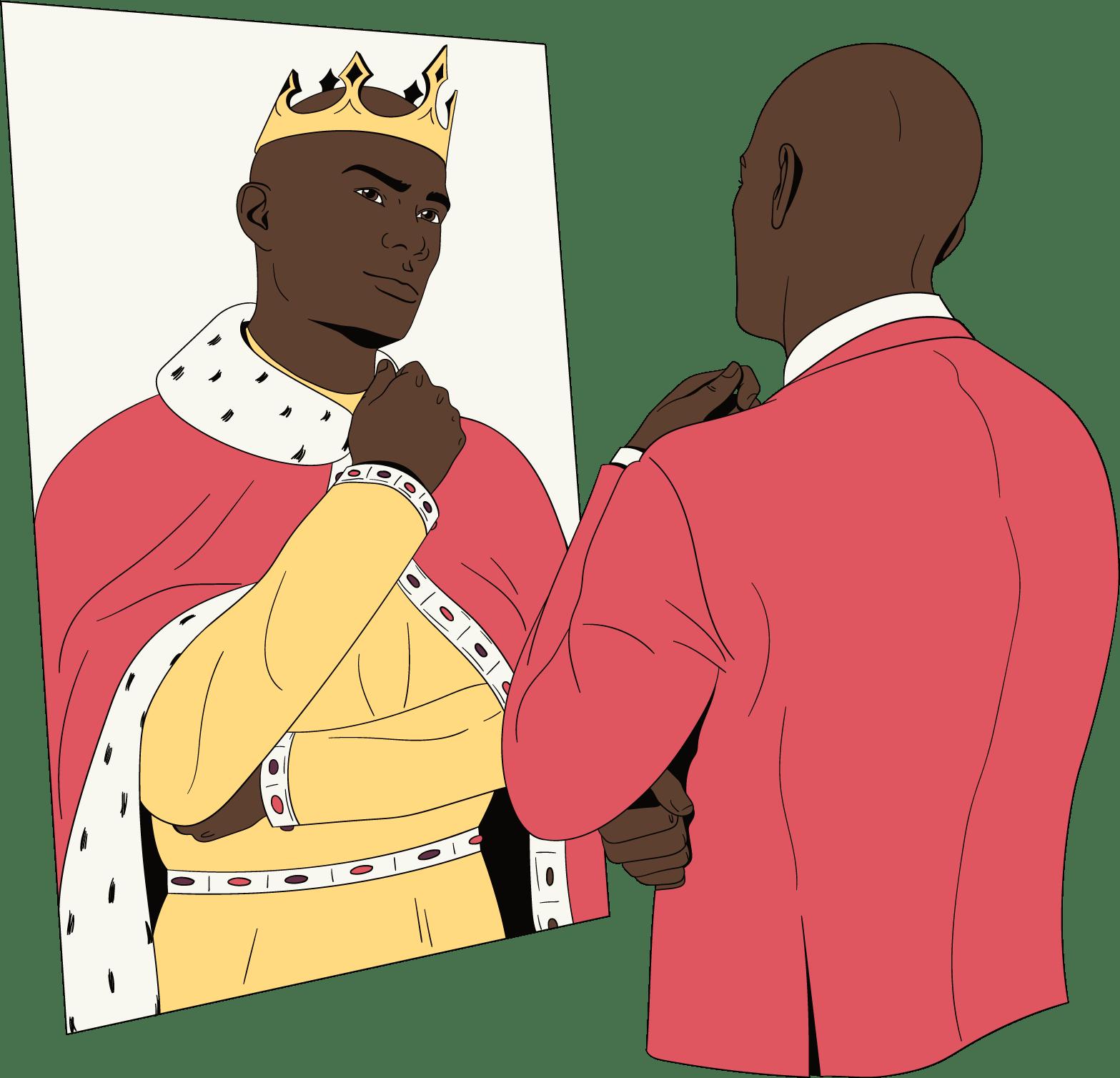 Een man kijkt in de spiegel en vindt zichzelf geweldig.