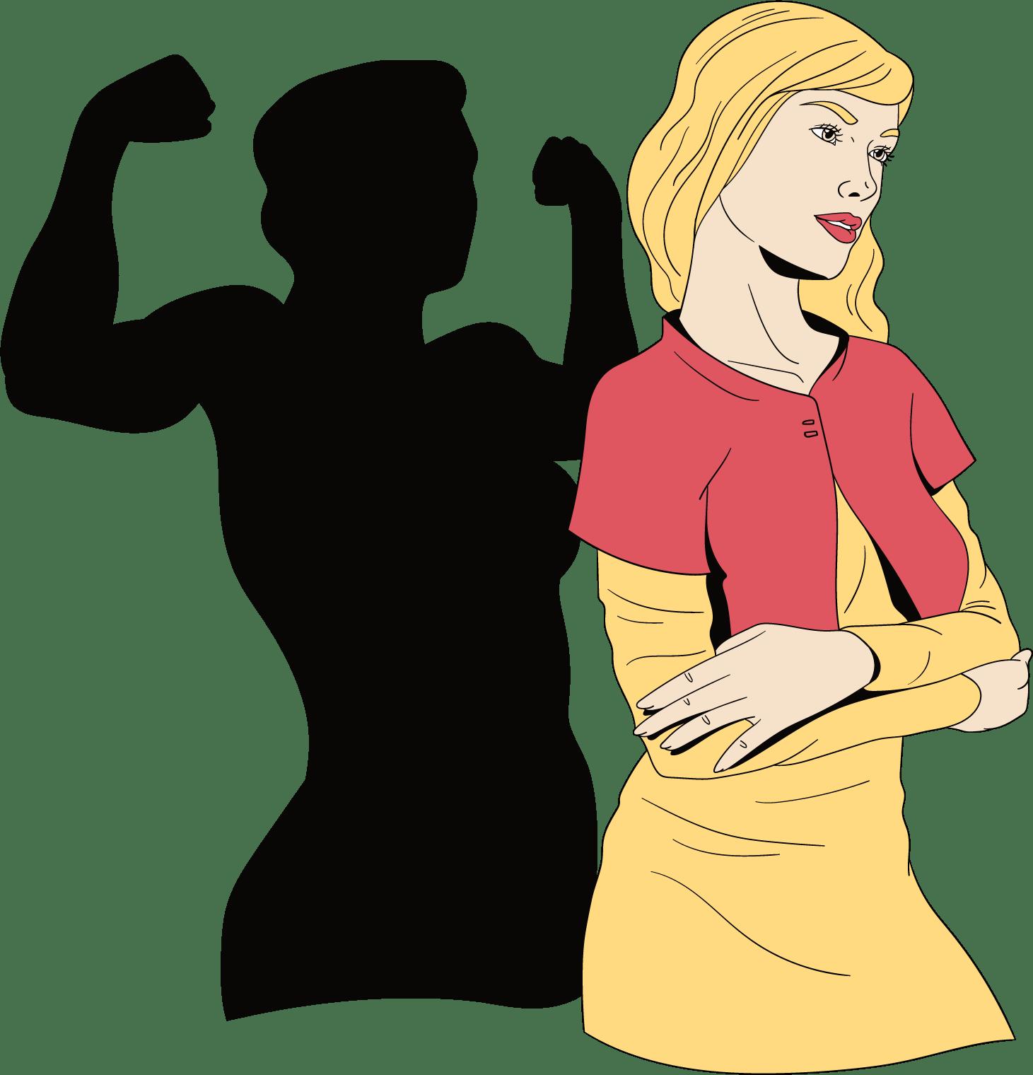 Een sterke vrouw met spierballen schaduw