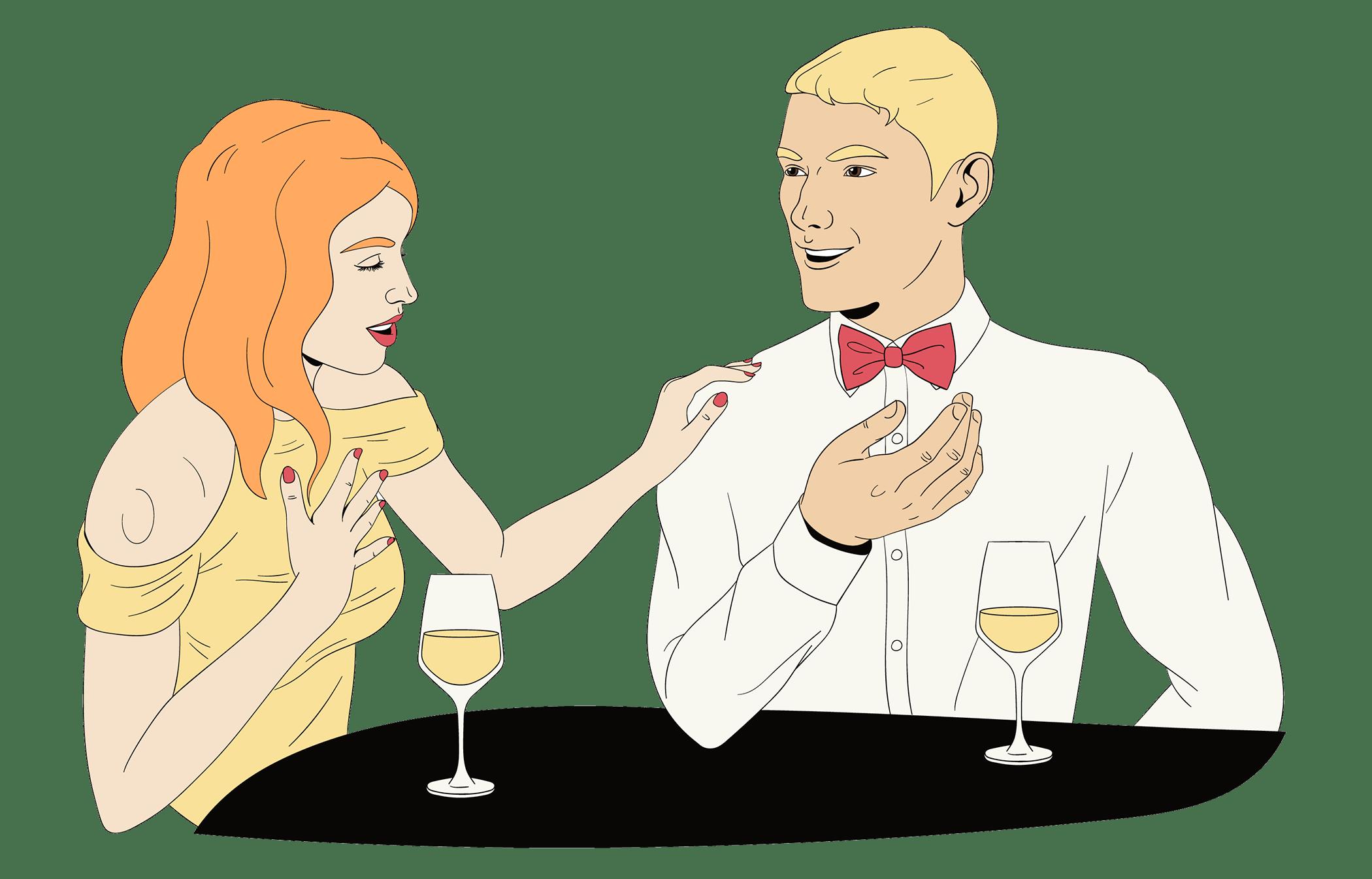 man en vrouw hebben leuke eerste date dankzij leuke vragen