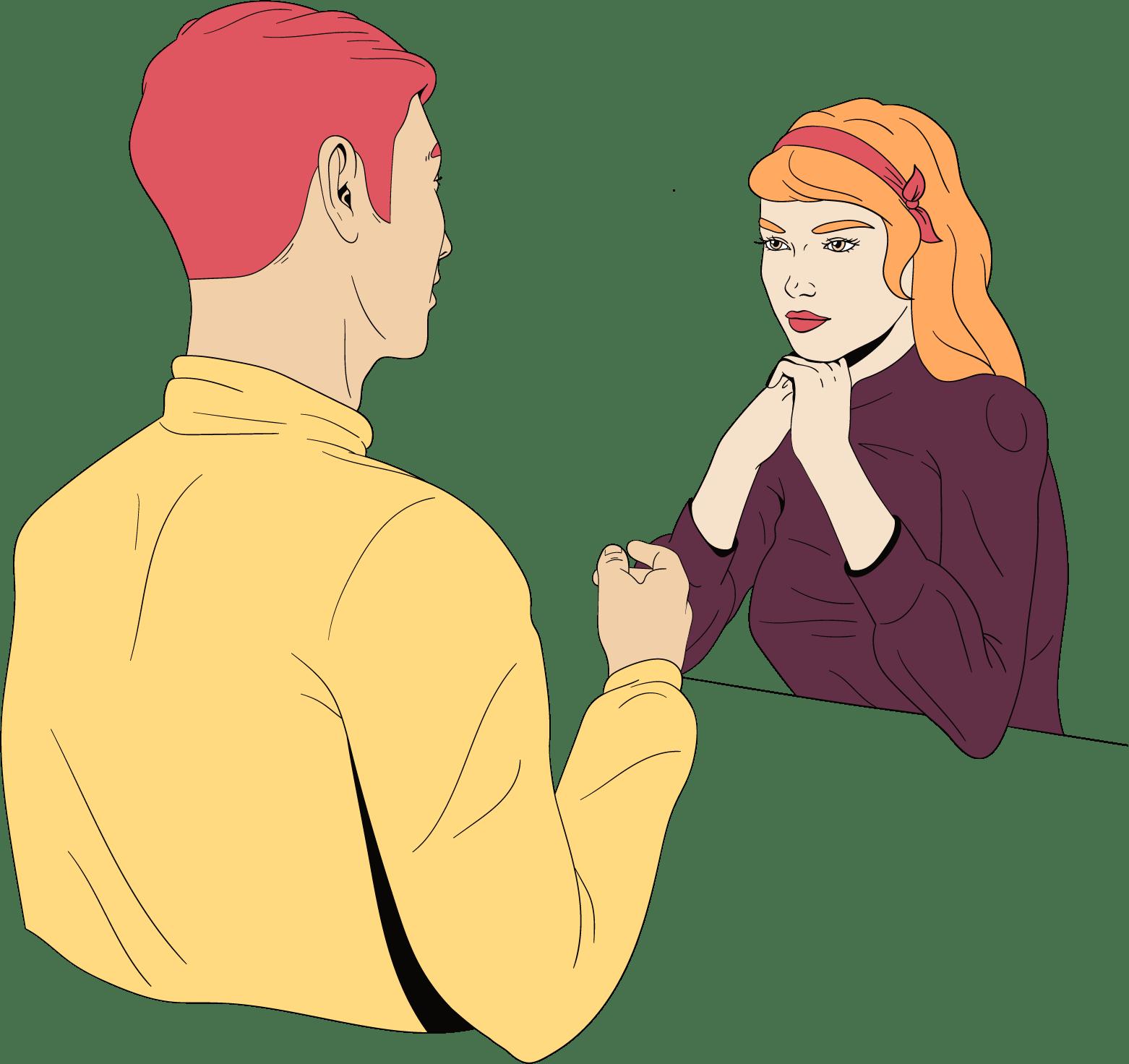 Een man en vrouw zitten tegenover elkaar. Hij speelt open kaart met haar.