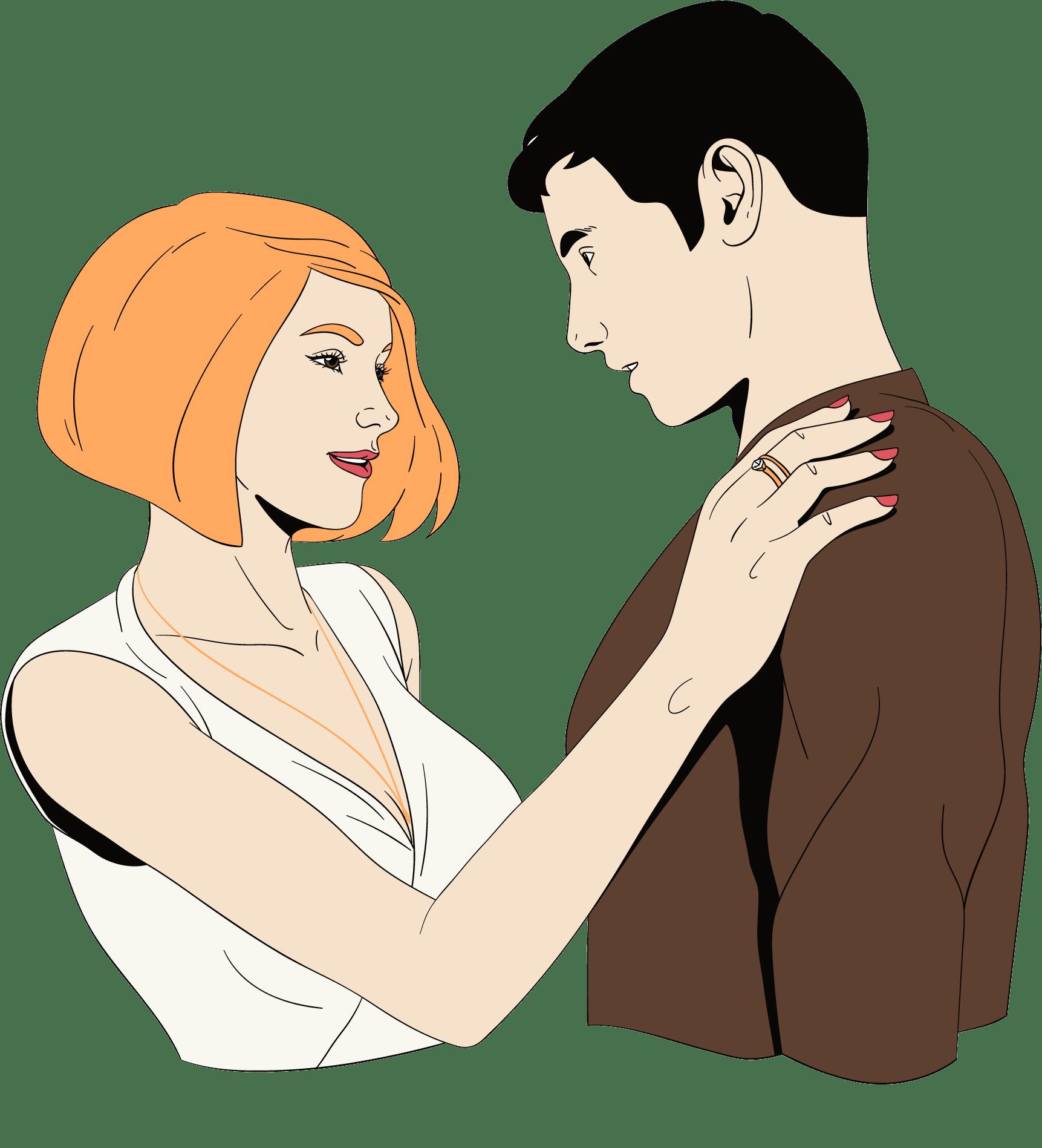 een vrouw flirt met een man en kijkt hem in de ogen aan