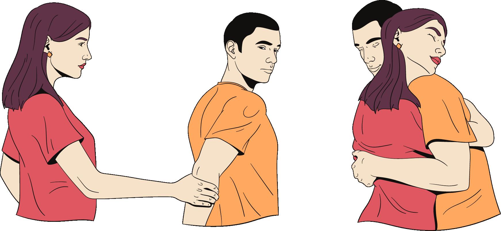Een vrouw pakt de arm van een man beet om hem weer dichter bij haar te krijgen. Ze knuffelen daarna.