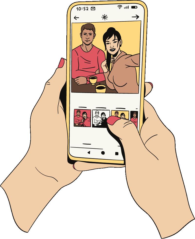 Een vrouw maakt haar ex vriend jaloers door een foto te posten met een andere man op social media